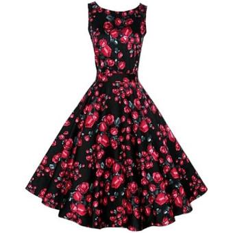 Fancyqube Floral Print Maxi Dresses Women Beach Long Print Dress Black Red