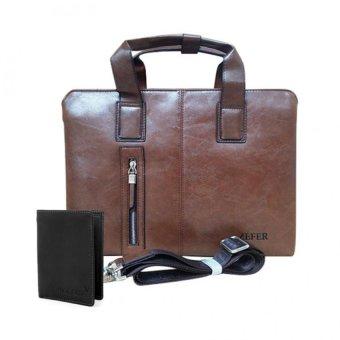 Bộ túi xách công sở và ví nam Zefer 999 (Nâu đậm)