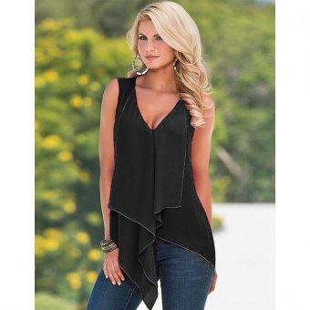 Sunweb Women Fashion V Neck Sleeveless Solid Irregular Hem Chiffon Blouse Tank Tops ( Black ) - intl
