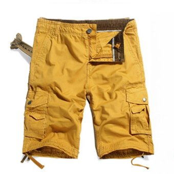 Mens Casual Cargo Shorts Multi Pocket Style High Quality Cotton Washing Shorts (Yellow) - intl