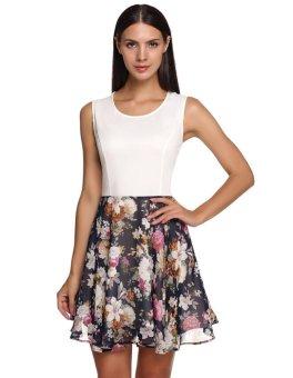 Sunweb FINEJO Stylish Ladies Floral Patchwork O-Neck Sleeveless Slim Casual Tank Dress ( White ) - intl
