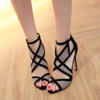 Giày cao gót lưới đan chéo (Xám)