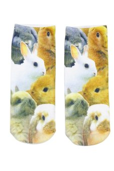 Bluelans Unisex Fashion 3D Rabbit Printed Patterns Anklet Socks Hosiery 1 Pair (Intl)