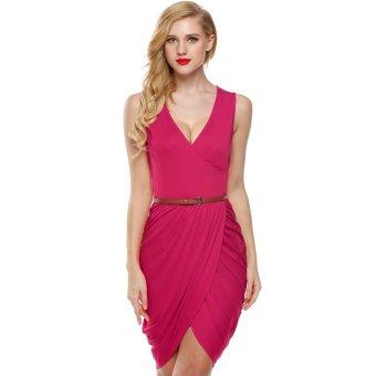 Cyber Meaneor Women Sleeveless Deep Wrap Slim Pencil Dress with Belt (Pink) - Intl