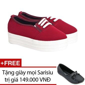 Giày bata cổ thấp Sarisiu XT738 (Đỏ) + Tặng 1 đôi giày mọi Sarisiu