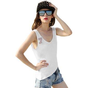 Sunweb Finejo Women Sexy V Back Strap Patchwork Irregular Hem Sleeveless Tank Tops ( White ) - intl