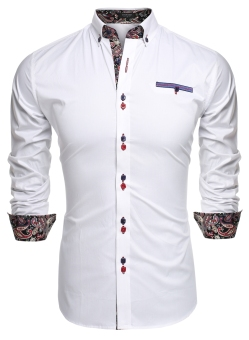 Cyber COOFANDY Men Long Sleeve Turn Down Neck Front Pocket Loose Tops Casual Dress Cotton Button Down Shirts(white) - Intl