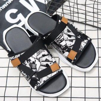 Jarma man's slides fashionable popular casual male slides slip on(Black) - intl