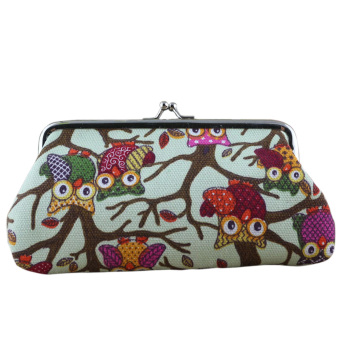 Women Owl Canvas Small Hasp Coin Purse Wallet Clutch Bag Green
