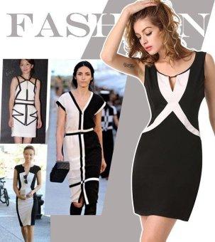 Sunweb Finejo Stylish Ladies Women Sexy Keyhole Sleeveless Patchwork Slim Casual Mini Dress ( Black ) - intl