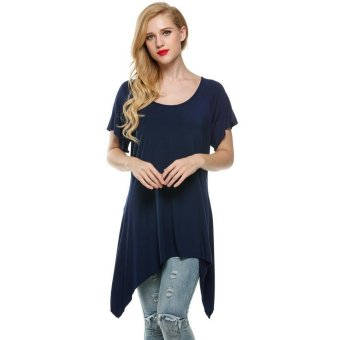 Linemart Meaneor Women Casual O-Neck Short Sleeve T-Shirt Sidetail Top ( Navy Blue ) - intl