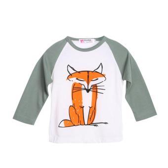 Toddler Kids Baby Boys Girls Fox Print T-shirt Long Sleeve Tops Clothes(Green) - intl