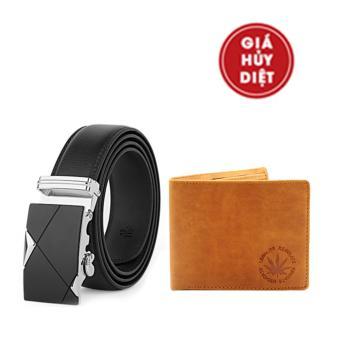 Bộ thắt lưng, ví nam da cao cấp NHT-107-VN06 (Đen Vàng )