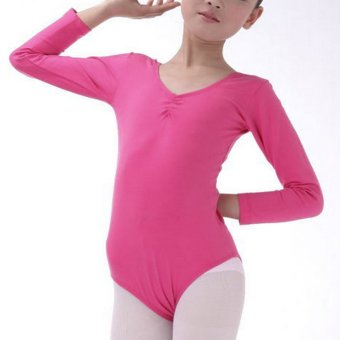 BolehDeals Girls Kids Gym Leotards Ballet Dance Leotard Stretchy Cotton Long Sleeve for Age 4-6 Deep Pink - intl