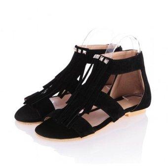 Summer Bohemia Sandals T Straps Lady Women Roman Punk Rivet Tassels Flats Shoes - intl