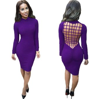 Sexy Women Midi Dress Backless Ruched Stand Collar Long Sleeve Bodycon Party Club Bandage Dress - Intl - intl