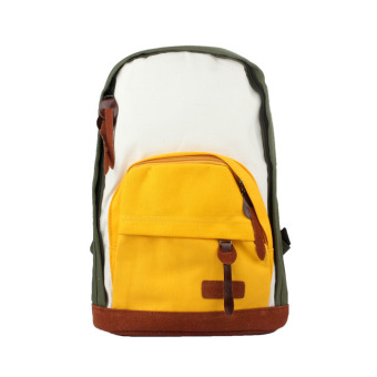 Women Girls Canvas Shoulder Bag Backpack Rucksack Satchel Bookbag Yellow+Green