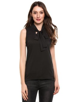 Cyber Women's Tie-Bow Neck Sleeveless Casual Slim Fit Blouse Top ( Black ) - intl