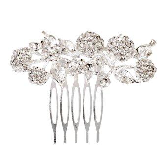 Bridal Wedding Flower Leaf Rhinestone Hair Comb Hair Accessories (Silver) - Intl