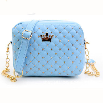 Women Messenger Bags Rivet Chain Shoulder Bag Leather Crossbody Blue - Intl