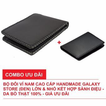Combo Bộ Đôi Ví Nam Handmade Cao Cấp Galaxy Store Lớn Và Nhỏ Da Bò Thật (Đen)
