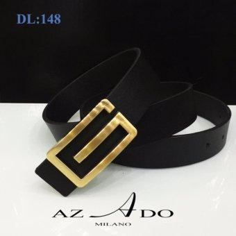 Dây lưng da bò DL:148, thời trang Azado (dây đen mặt vàng)