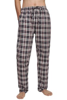 Cyber Avidlove Men Male Multicolor Plaid Sleepwear Lounge Pajamas Pants Trousers ( Red ) - Intl