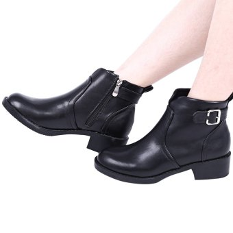 Ladies Stylish Zipper Design Buckle Decoration Thick Heel Ankle Boots(Black) - intl