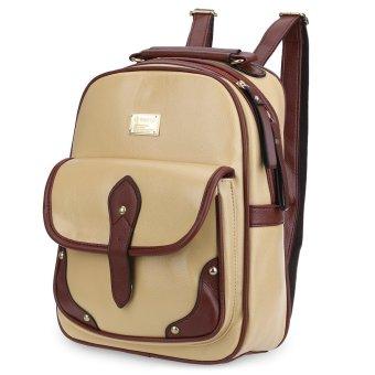 Zipper Ladder Lock Letter Portable Backpack Vertical(Khaki) - intl