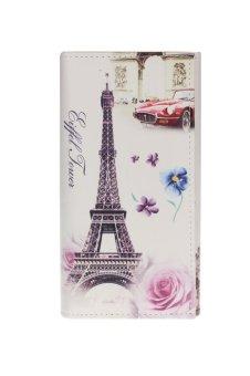 Eiffel Tower Rose Women Long Purse (White)