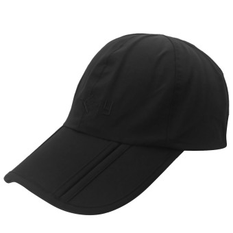 Unisex Portable Foldable Waterproof Adjustable Pure Color Plain Sport Baseball Hat Cap with Wind Protection Clip Black - intl
