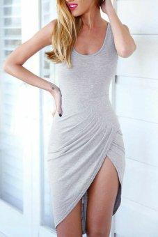 Linemart Backless Cross Bandage Mini Irregular Dress (Grey) - intl
