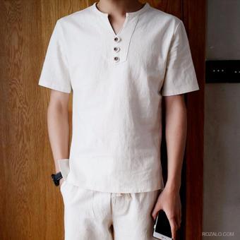 Bộ đồ vải lanh áo ngắn tay quần đùi ROZALO RMB3488W (Trắng)