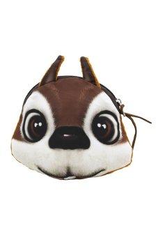 Bluelans Cartoon 3D Squirrel Face Zipper Wallet (Brown) (Intl)