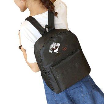 Girls Print Canvas School Bag Travel Backpack Satchel Women Shoulder Rucksack - intl