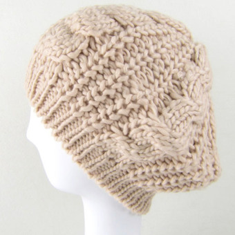 Women Winter Beret Crochet Hat Beige (Intl)