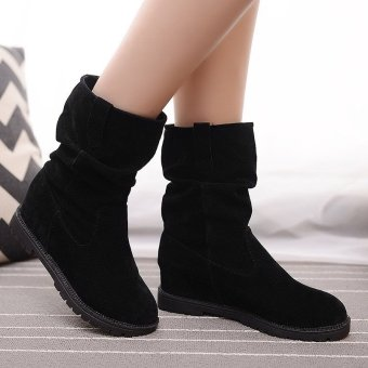 New Women Winter Increased Mid-calf Knight Suede Martin Boots Middle Tube Shoes Black - intl
