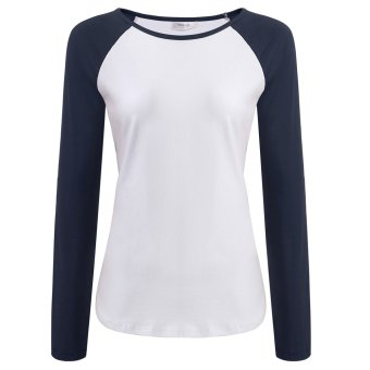 Cyber Meaneor Women Casual Long Sleeve Patchwork Slim T-Shirt Tops - Intl