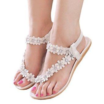 Cyber Bohemia Style Floral Resin Rhinestone Elastic Band One Toe Flat Heel Sandal Thong Slipper (White) - intl