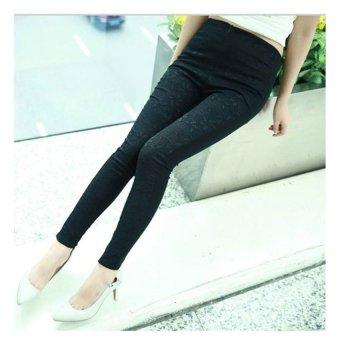Cyber Women Lace Flower Slim Fit Stretch Skinny Pants (Black) - intl