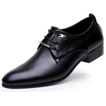 LALANG Men PU Leather Lace Up Cap-Toe Business Casual Shoes Black - - intl