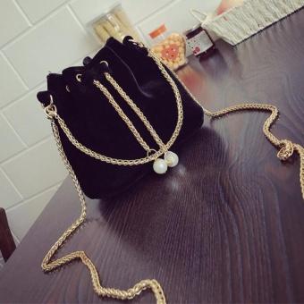 Women Fashion Solid Handbag Drawstring Shoulder Bag Tote Ladies Purse BK - intl