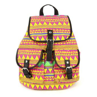Vintage Floral Print Canvas Backpack (Multicolor) - Intl