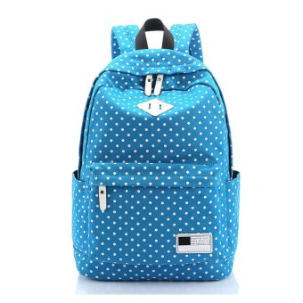 Canvas Backpack Polka Dot School Shoulder Bag Travel Rucksacks Blue