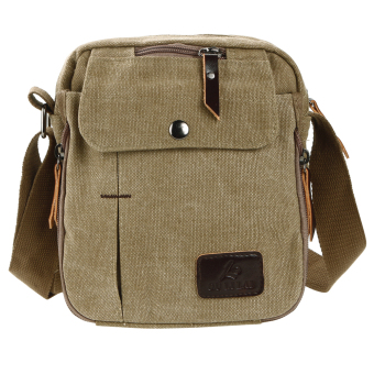 Fashion Men Multi-Function Small Canvas Business Shoulder Handbag (Khaki) - intl