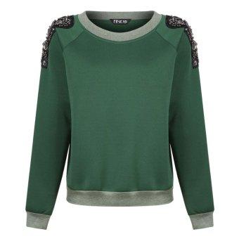 Sunweb Finejo Ladies Casual Hoodie Long Sleeve Beads Deco Loose Pullover Top Sweatshirt ( Green ) - intl