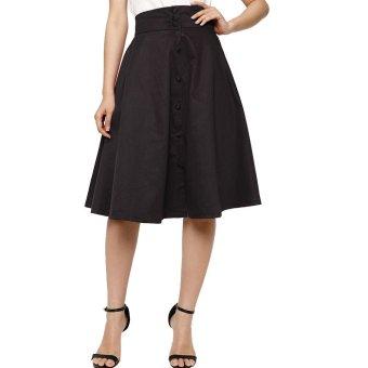 Chân váy xòe vintage phối nút – V02515090 (Đen)
