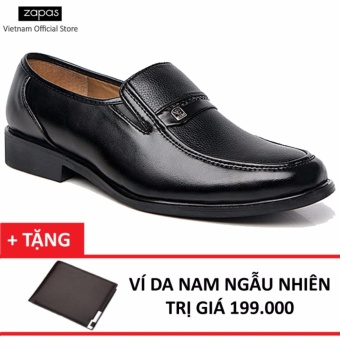 Giày tây Zapas công sở kiểu xỏ - GT016 (Màu Đen) + Tặng Ví Nam