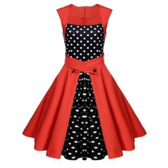 Sunweb Women Fashion Vintage Style Square Collar Sleeveless High Waist Polka Dot Patchwork A-Line Swing Dress ( Red ) - intl