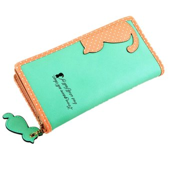 Fashion Women Lady Cute Cat Clutch Long Purse Wallet Card Holder Mobile Bag Green - intl
